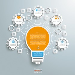 Infographic design with bulb on the grey background. Eps 10 vector file.