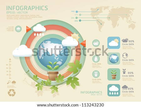 infographic eco Modern soft color Design template / can be used for infographics / numbered banners / graphic or website layout vector