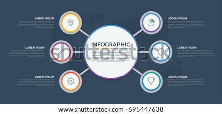 infographic element vector with 6 options, list, circles, can be used for step, workflow, diagram, banner, process, business presentation template, report. dark theme.