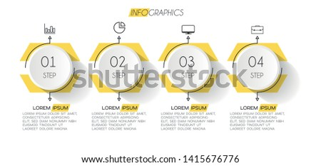 Infographic element with icons and 4 options or steps. Can be used for process, presentation, diagram, workflow layout, info graph, web design. Vector illustration.