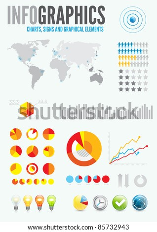 Infographic Elements and colorful pie chart vector graphics