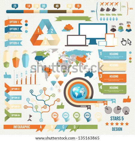 Infographic Elements and Communication Concept. Vector Ribbons and Corners.