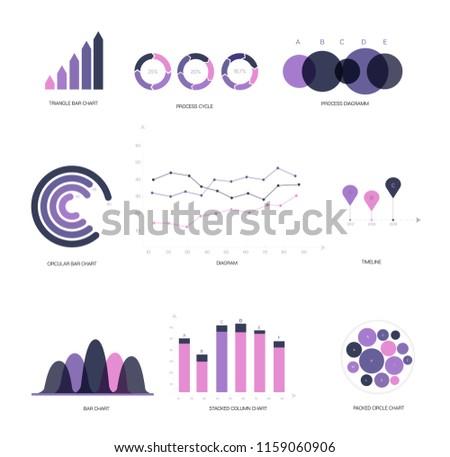 Infographic Elements, Annual Presentation Vector Set. Pink, Purple Female Trendy Data Visualisation Design. Big Data Diagram, Path, Target Circle Chart. Statistics Ads Infographic Elements Photo stock ©