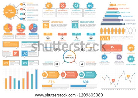 Infographic elements - bar and line charts, percents, pie charts, steps, options, timeline, people infographics, vector eps10 illustration 商業照片 ©