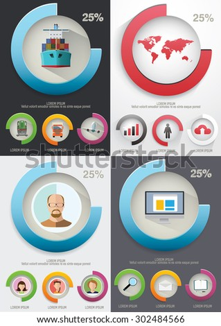 Infographic elements. Charts and icons. Vector illustration. #302484566
