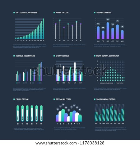 Infographic elements. Data visualization graphs, business workflow processes. Presentation charts and diagrams. Vector graphics and diagram, business graph and chart information illustration