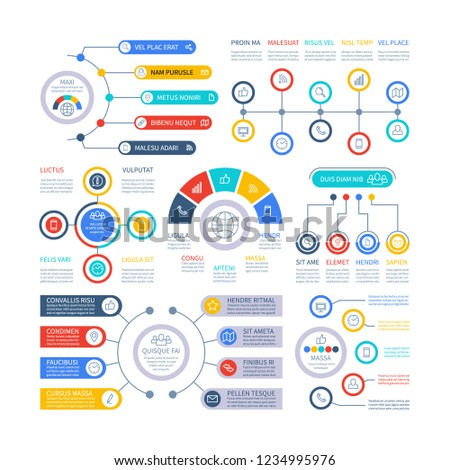 Infographic elements. Financial presentation infochart, marketing chart and bar diagrams. Option process graph and timeline vector set