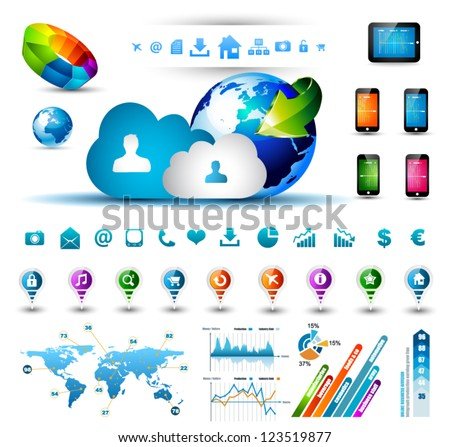 Infographic elements for cloud computing - set of paper tags, technology icons, graphs, paper tags, arrows, world map and so on. Ideal for statistic data display.