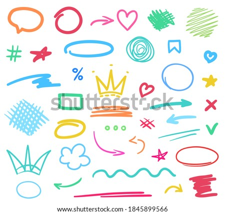 Infographic elements isolated on background. Colored set of sketchy arrow, heart, crown signs. Hand drawn simple symbols Stock photo ©