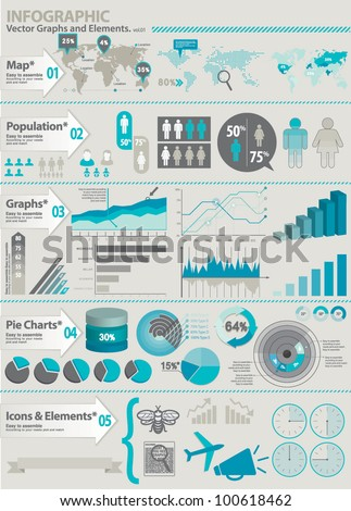 INFOGRAPHIC ELEMENTS KIT. Set of global financial icons and graphic elements.