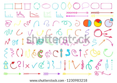 Infographic elements on isolated white background. Hand drawn simple arrows and frames. Line art. Set of different pointers. Abstract indicators. Doodles for work. Art creation