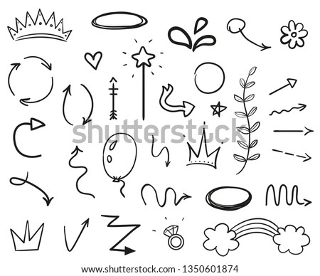 Infographic elements on isolated white background. Hand drawn simple arrows. Line art. Set of different things. Abstract signs. Black and white illustration. Doodles for artwork #1350601874