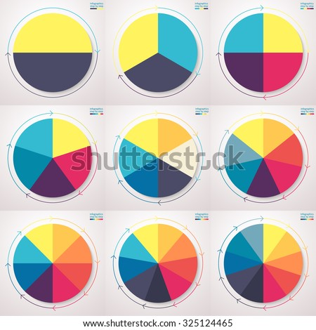 Infographic elements. Pie charts with thin line arrows. Set of flat pie charts with 2, 3, 4, 5, 6, 7, 8, 9, 10 steps, options, parts, processes. Vector business templates for presentation.
