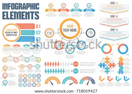Infographic elements - process, steps, options, workflow, circle diagram, timeilne, human infographics, pie charts, puzzle infographics, vector eps10 illustration