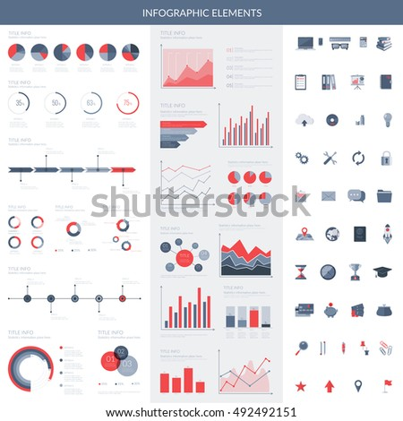 Infographic elements set. Easy to edit colorful symbols. Vector collection.