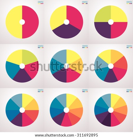 Infographic elements. Set of flat pie charts with 2, 3, 4, 5, 6, 7, 8, 9, 10 steps, options, parts, processes. Vector business templates for presentation.