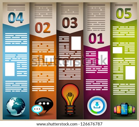 Infographic elements - set of paper tags, cloud technology icons, cloud cmputing, graphs, paper tags, arrows, world map and so on. Ideal for statistic data display.