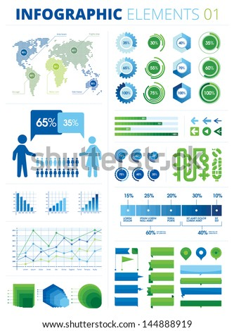 Infographic Elements 01. This is a pack of infographic elements great for presentations, reports, prints, brochures, websites etc. All the charts and graphs are sliced into pieces of 5% each.