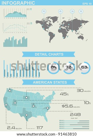 Infographic Elements with World and American map and colorful pie chart vector graphics