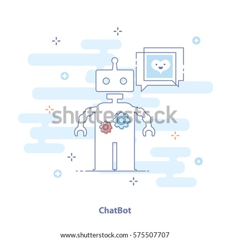 Infographic flat design concept of Chat Bot, Robots, Virtual Assistance, Artificial Intelligence. Modern thin line icon concept in light colors for Website Element, Mobile websites and Apps.