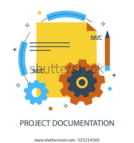 Infographic flat design concept of Project Documentation, Development and Production Plan, Report, Guide or Brief. Modern thin line icon concept for Website Element, Mobile websites and Apps.