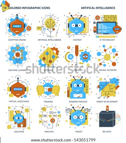 Infographic flat design concept of Robot, Bot, Virtual Assistance and Artificial Intelligence icons. Modern thin line set for Website Element, Mobile websites and Apps.