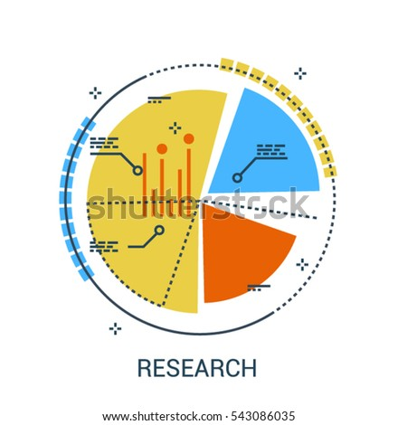 Infographic flat line colorful icon concept of Marketing Research. Business analysis design with pie chart statistics diagram.