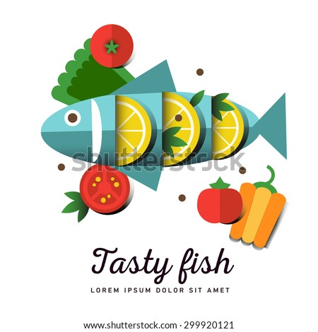 Infographic food business seafood flat lay idea. Vector illustration hipster concept, can be used for layout, advertising and web design. Seafood design set. Seafood menu for restaurant. Tasty fish