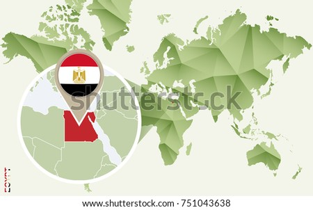 Infographic for Egypt, detailed map of Egypt with flag. Vector Info graphic green map.