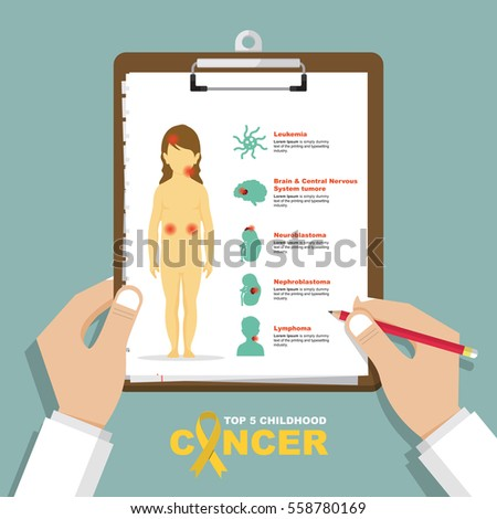 infographic for top 5 type of childhood cancer in flat design. Clipboard in doctor hand. Medical and health care report. Vector Illustration.