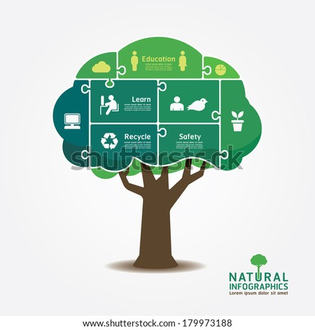 infographic green tree jigsaw