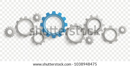 Infographic header with gray and blue gears on the checked background. Eps 10 vector file.