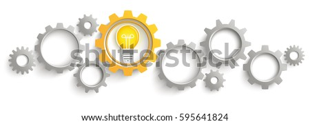 Infographic header with gray and orange gears with idea bulb on the white background. Eps 10 vector file.