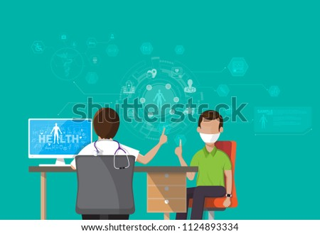 Infographic Health, concept Doctor patient sitting at office desk and working on his computer with medical equipment all around, back view Vector illustration