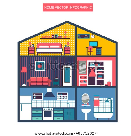 Infographic home layout interior. Flat style vector illustration. #485912827