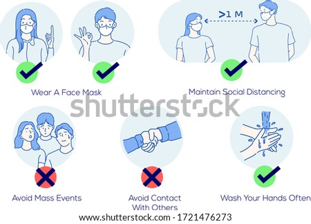 Infographic illustration about  how to prevent coronavirus. Infection control concept. Hand drawn in thin line style, vector illustrations.