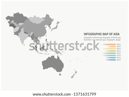 Infographic Illustration design map of Asia