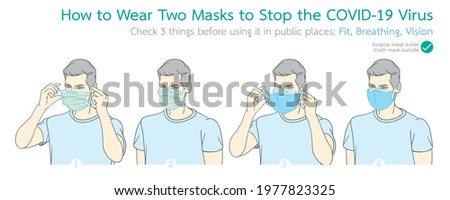Infographic illustration of how to wear two masks to stop the COVID-19 virus during the coronavirus outbreak concept. Illustration and Infographic in vector isolated on background.