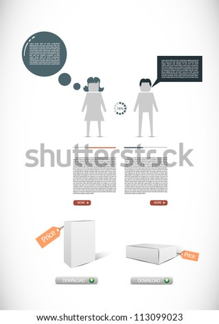 Infographic illustration with download buttons