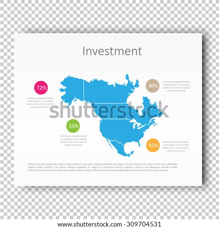 Infographic Investment North America Map Presentation Template, Business Layout design, Modern Style, Vector design illustration.