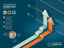 infographic isometric graph   / can be used for infographics / graphic or advertise layout vector