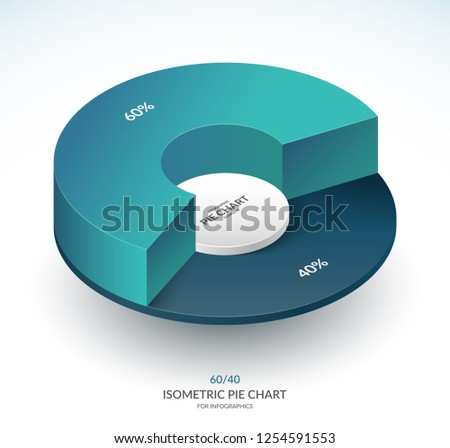 Infographic isometric pie chart circle. Share of 60 and 40 percent. Vector template.