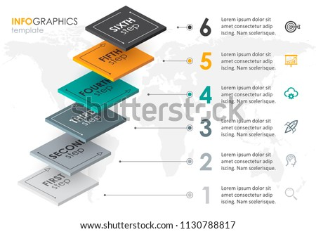 Infographic label design with 6 options leves or steps. Infographics for business concept. Can be used for presentations banner, workflow layout, process diagram, flow chart, info graph