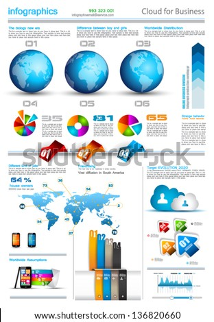 Infographic layout template with world maps Ideal for global statistics and for every kind of data visualization Delicate shadows and high costrast colours