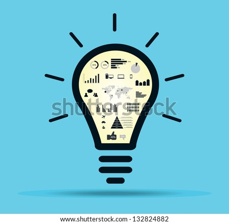 Infographic light bulb with drawing inside