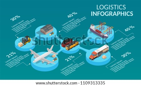 Infographic low poly isometric illustration with transportation process logistics big global network.