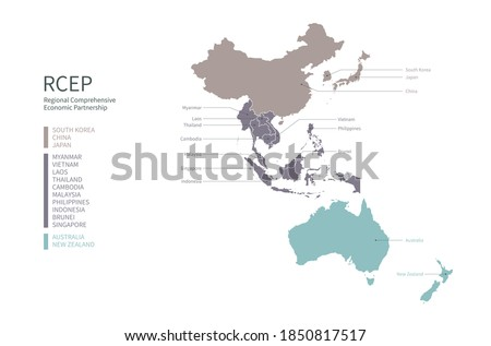Infographic of RCEP participating countries. RCEP countries vector map. Foto d'archivio ©