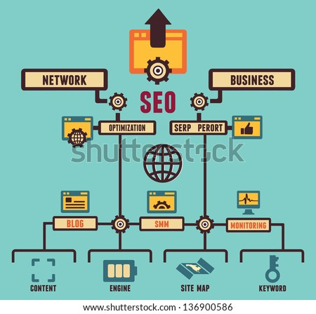 Infographic of Seo process - vector illustration