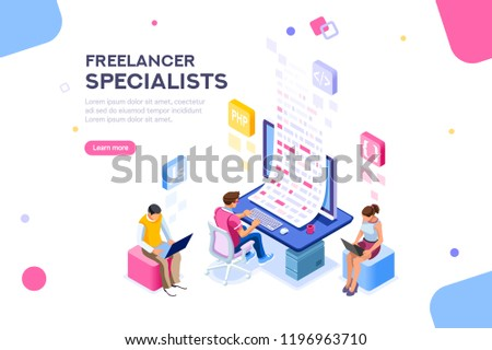 Infographic of software develop a project wireframe. Engineering desktop workstation for office specialist. Graphic for freelancer, concept with characters and text. Flat isometric vector illustration