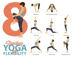 Infographic of 8 Standing Yoga poses for Easy yoga at home in concept of flexibility in flat design. Beauty woman is doing exercise for body stretching. Set of yoga at home infographic . Yoga Vector.